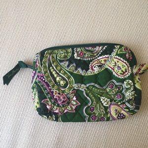 Vera Bradley makeup clutch zip bag green paisley